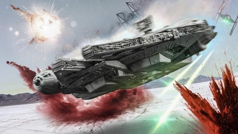 Rian Johnson Battaglia di Crait Millennium Falcon star wars