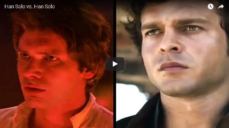 Han Solo video confronto Alden Ehrenreich e Harrison Ford
