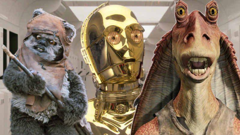 Star Wars Ewok droidi jar jar binks guerre stellari c3p0