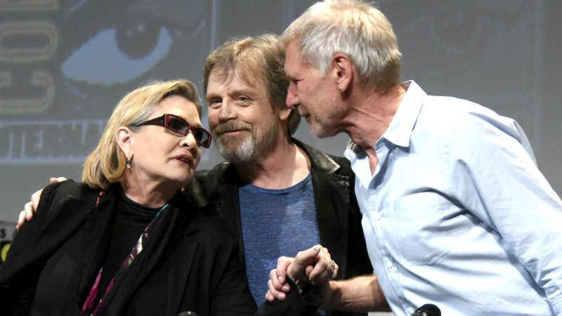 Star Wars carrie fisher mark hamill harrison ford insieme