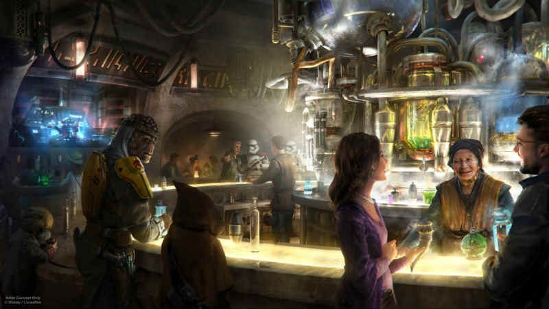 star wars galaxy's edge cantina bar concept art parchi di divertimento disney guerre stellari
