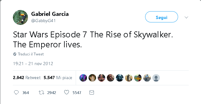 gabriel garcia tweet 2012 star wars the rise of skywalker