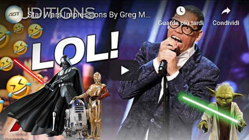 America's Got Talent Greg Morton fan Star Wars Video