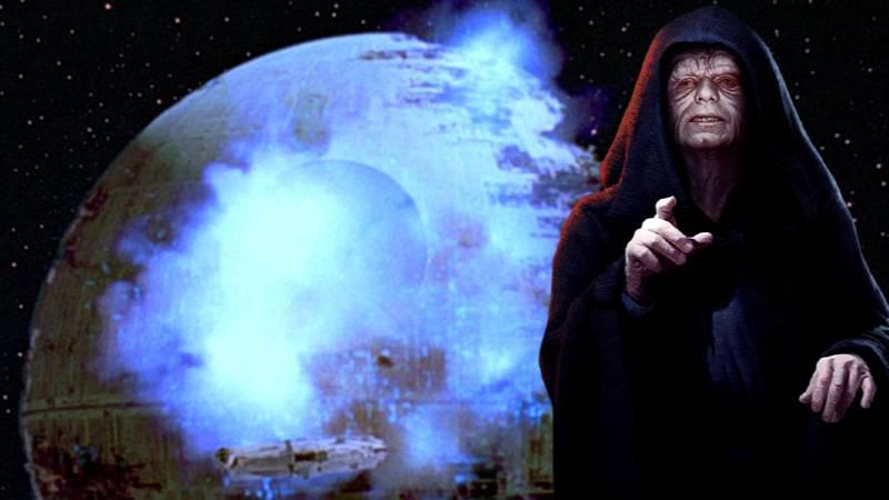 Star Wars esplosione morte nera palpatine fumo energia blu
