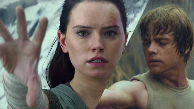 Star Wars Rey solleva massi pietre Luke Dagobah